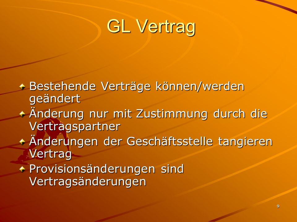 9 GL Vertrag GL Vertrag Bestehende Verträge können/werden geändert Änderung nur mit Zustimmung durch die Vertragspartner Änderungen der Geschäftsstell