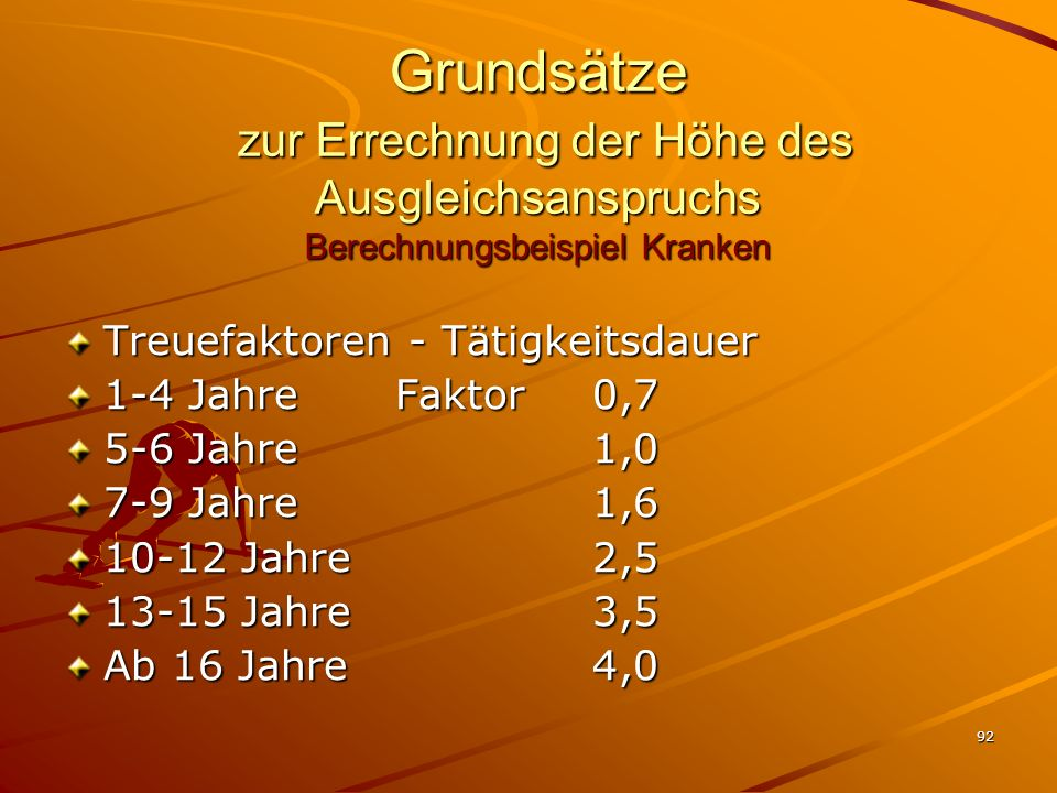92 Grundsätze zur Errechnung der Höhe des Ausgleichsanspruchs Berechnungsbeispiel Kranken Treuefaktoren - Tätigkeitsdauer 1-4 Jahre Faktor 0,7 5-6 Jah