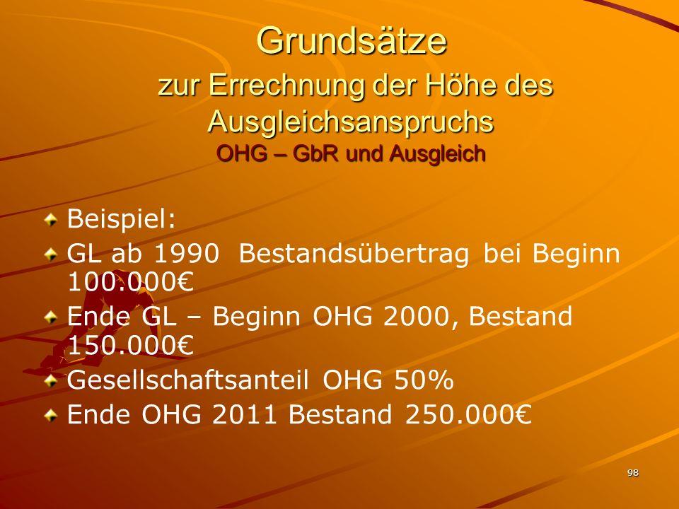 98 Grundsätze zur Errechnung der Höhe des Ausgleichsanspruchs OHG – GbR und Ausgleich Beispiel: GL ab 1990 Bestandsübertrag bei Beginn 100.000 Ende GL