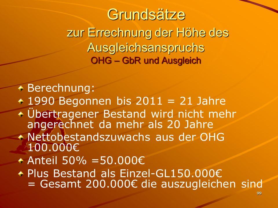 99 Grundsätze zur Errechnung der Höhe des Ausgleichsanspruchs OHG – GbR und Ausgleich Berechnung: 1990 Begonnen bis 2011 = 21 Jahre Übertragener Besta