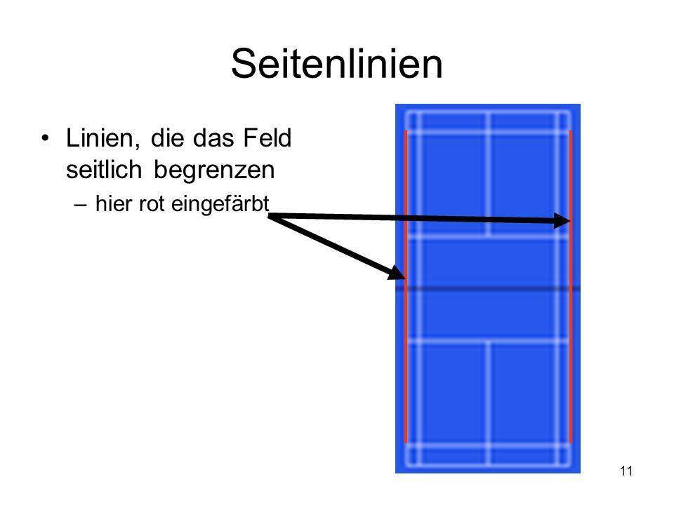 11 Seitenlinien Linien, die das Feld seitlich begrenzen –hier rot eingefärbt