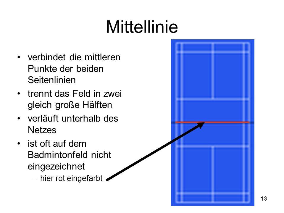 13 Mittellinie verbindet die mittleren Punkte der beiden Seitenlinien trennt das Feld in zwei gleich große Hälften verläuft unterhalb des Netzes ist o
