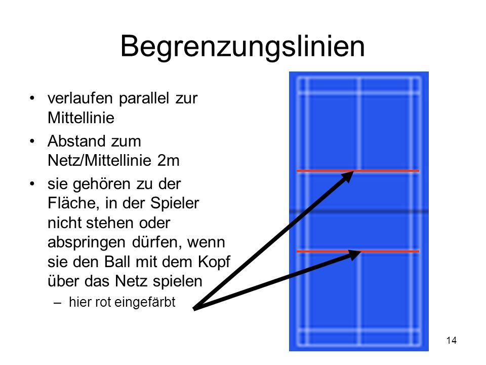 14 Begrenzungslinien verlaufen parallel zur Mittellinie Abstand zum Netz/Mittellinie 2m sie gehören zu der Fläche, in der Spieler nicht stehen oder ab