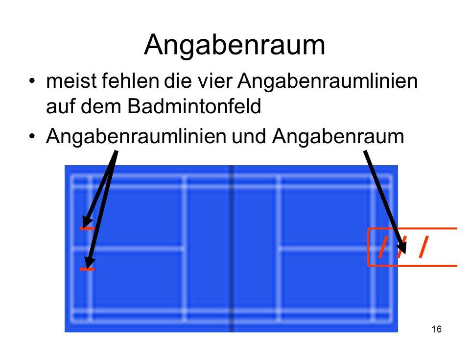16 Angabenraum meist fehlen die vier Angabenraumlinien auf dem Badmintonfeld Angabenraumlinien und Angabenraum