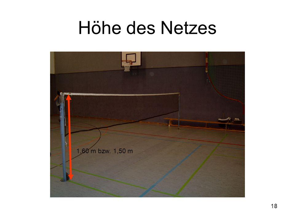 18 Höhe des Netzes 1,60 m bzw. 1,50 m