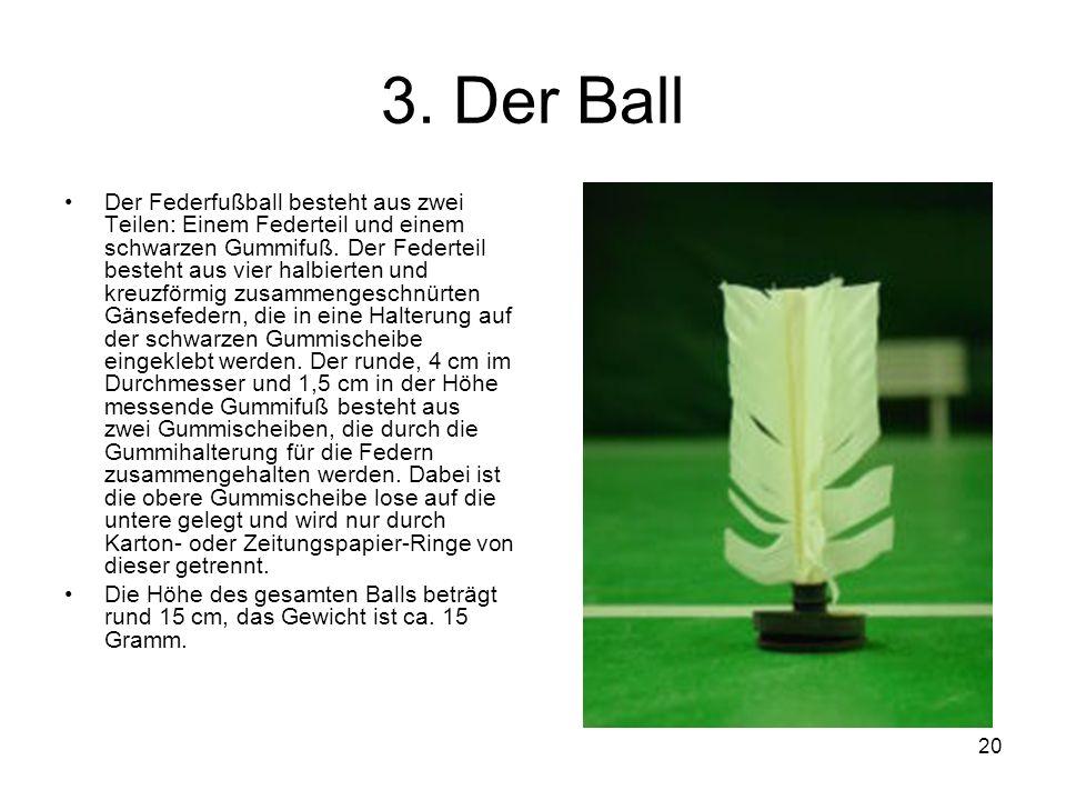 20 3. Der Ball Der Federfußball besteht aus zwei Teilen: Einem Federteil und einem schwarzen Gummifuß. Der Federteil besteht aus vier halbierten und k