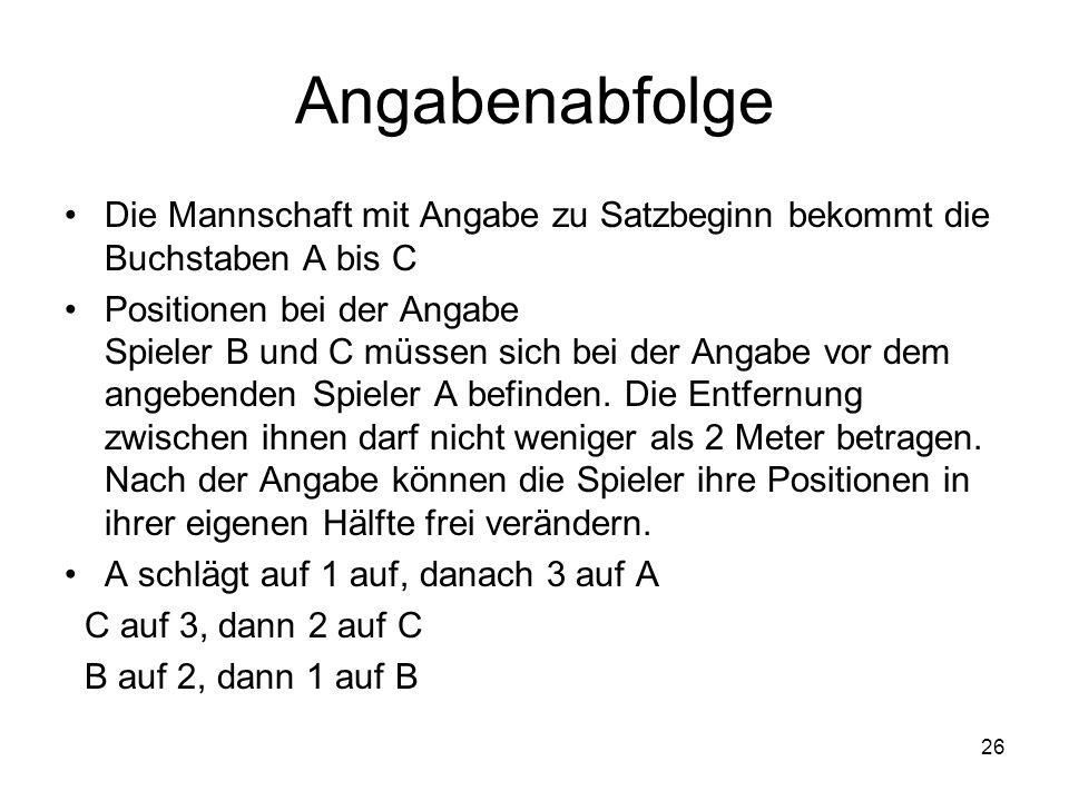 26 Angabenabfolge Die Mannschaft mit Angabe zu Satzbeginn bekommt die Buchstaben A bis C Positionen bei der Angabe Spieler B und C müssen sich bei der