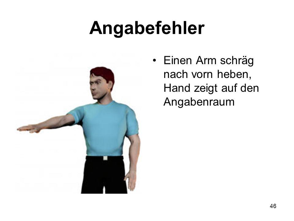 46 Angabefehler Einen Arm schräg nach vorn heben, Hand zeigt auf den Angabenraum