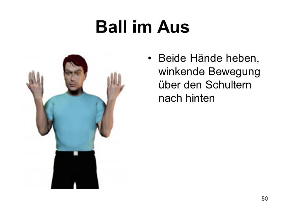 50 Ball im Aus Beide Hände heben, winkende Bewegung über den Schultern nach hinten