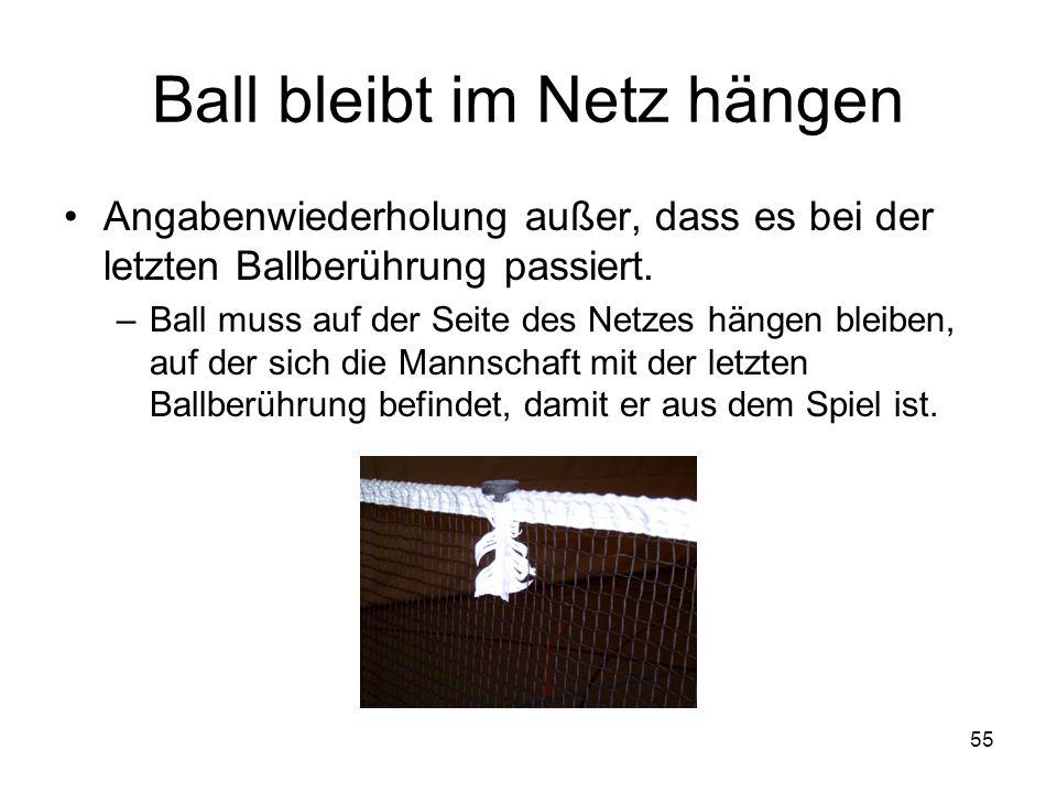 55 Ball bleibt im Netz hängen Angabenwiederholung außer, dass es bei der letzten Ballberührung passiert. –Ball muss auf der Seite des Netzes hängen bl