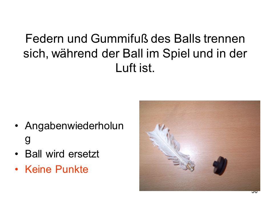 56 Federn und Gummifuß des Balls trennen sich, während der Ball im Spiel und in der Luft ist. Angabenwiederholun g Ball wird ersetzt Keine Punkte