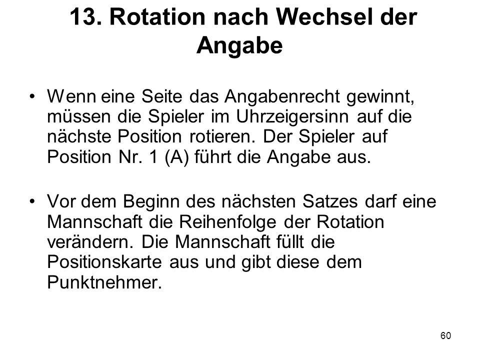 60 13. Rotation nach Wechsel der Angabe Wenn eine Seite das Angabenrecht gewinnt, müssen die Spieler im Uhrzeigersinn auf die nächste Position rotiere