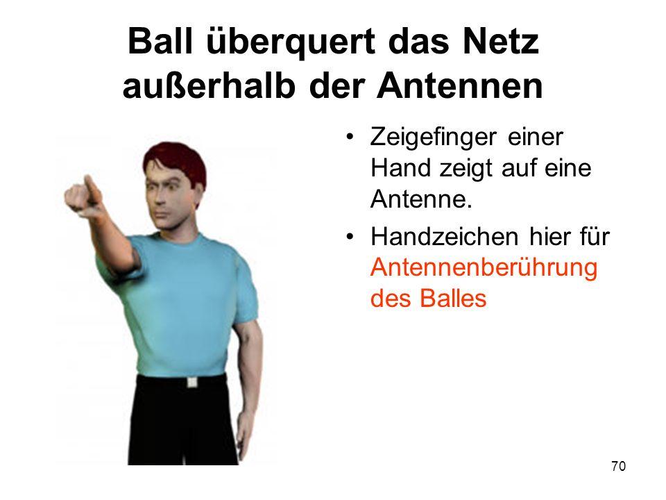 70 Ball überquert das Netz außerhalb der Antennen Zeigefinger einer Hand zeigt auf eine Antenne. Handzeichen hier für Antennenberührung des Balles