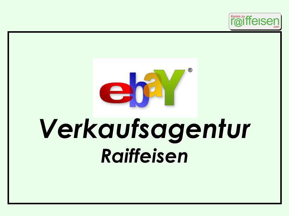 Idee ebay-Vermarktung Ausgangslage Überzählige Posten aus Werbeware in Märkten vorhanden ebay dafür ein guter Vertriebskanal momentan überwiegend Einzelkämpfer bei ebay Vergeudung von Arbeitszeit, da kein Gesamtkonzept erkennbar Vorschlag zentrale ebay-Verkaufsagentur für Raiffeisenmärkte