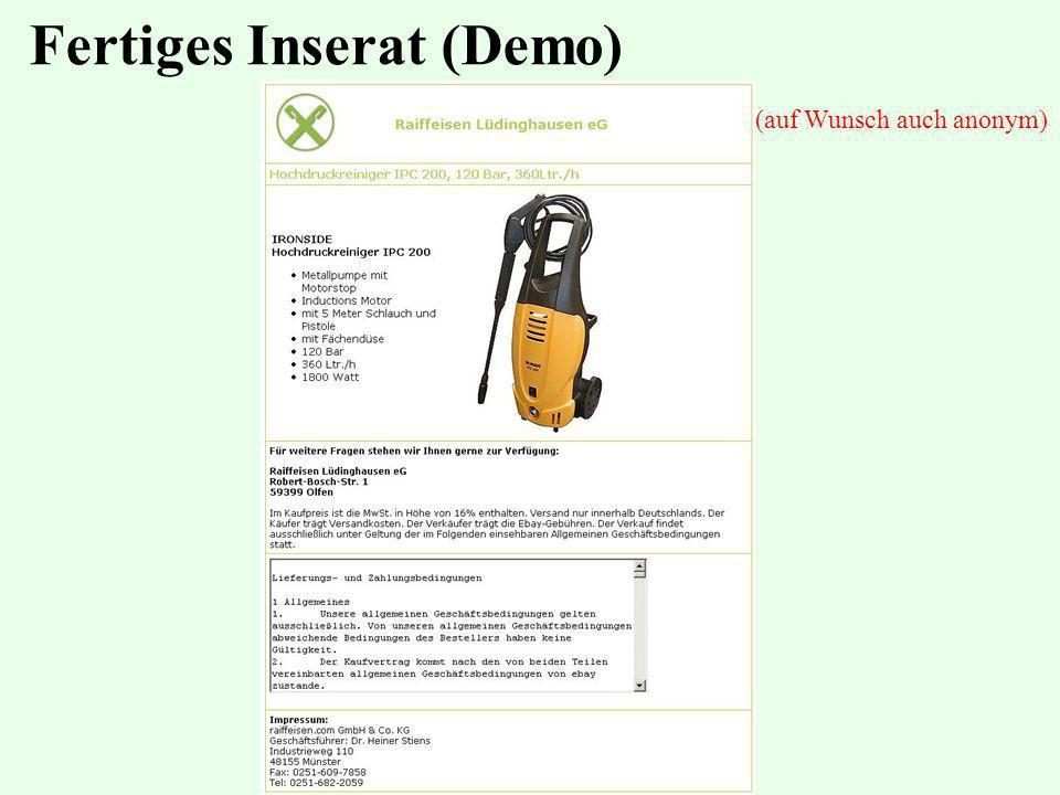 Fertiges Inserat (Demo) (auf Wunsch auch anonym)