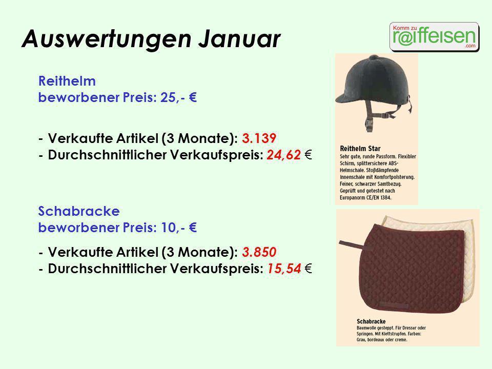 Auswertungen Januar Reithelm beworbener Preis: 25,- - Verkaufte Artikel (3 Monate): 3.139 - Durchschnittlicher Verkaufspreis: 24,62 Schabracke beworbe