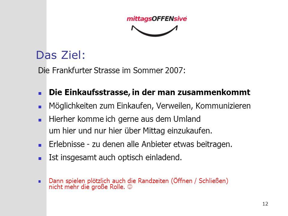 12 Das Ziel: Die Frankfurter Strasse im Sommer 2007: Die Einkaufsstrasse, in der man zusammenkommt Möglichkeiten zum Einkaufen, Verweilen, Kommunizier