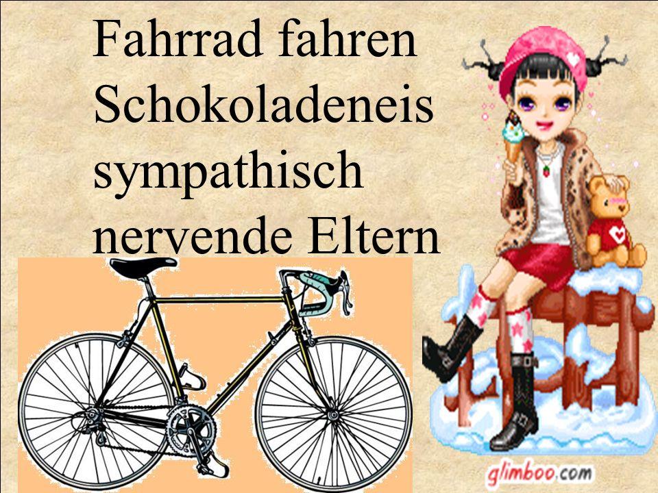 Fahrrad fahren Schokoladeneis sympathisch nervende Eltern