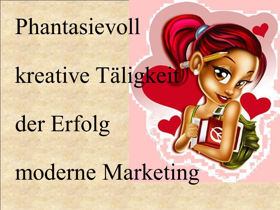 Phantasievoll kreative Täligkeit der Erfolg moderne Marketing