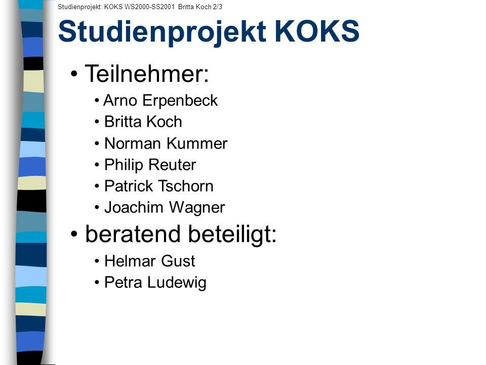 Studienprojekt KOKS Studienprojekt: KOKS WS2000-SS2001 Britta Koch 2/3 Teilnehmer: Arno Erpenbeck Britta Koch Norman Kummer Philip Reuter Patrick Tsch