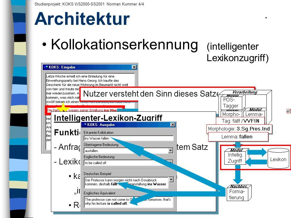 Kollokationserkennung (intelligenter Lexikonzugriff) Architektur Nutzer versteht den Sinn dieses Satzes nicht.... und klickt fällt an.... Studienproje