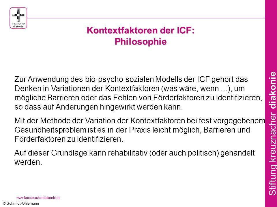www.kreuznacherdiakonie.de Stiftung kreuznacher diakonie Zur Anwendung des bio-psycho-sozialen Modells der ICF gehört das Denken in Variationen der Kontextfaktoren (was wäre, wenn...), um mögliche Barrieren oder das Fehlen von Förderfaktoren zu identifizieren, so dass auf Änderungen hingewirkt werden kann.