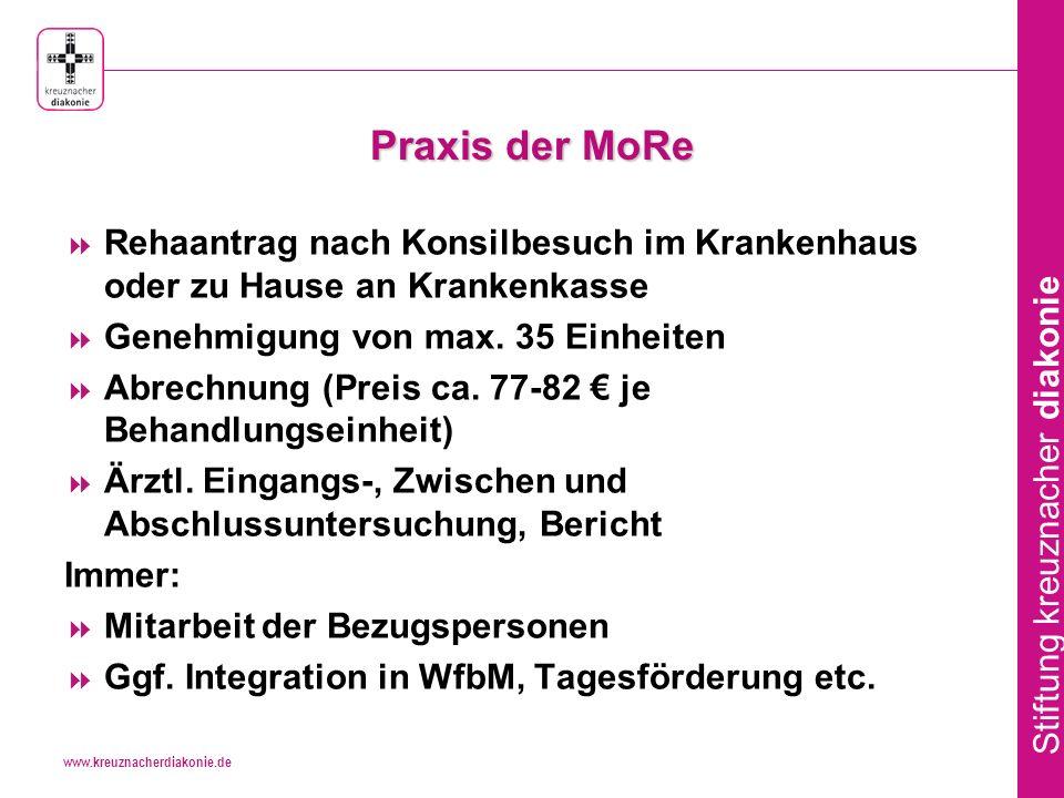 www.kreuznacherdiakonie.de Stiftung kreuznacher diakonie Praxis der MoRe Rehaantrag nach Konsilbesuch im Krankenhaus oder zu Hause an Krankenkasse Genehmigung von max.