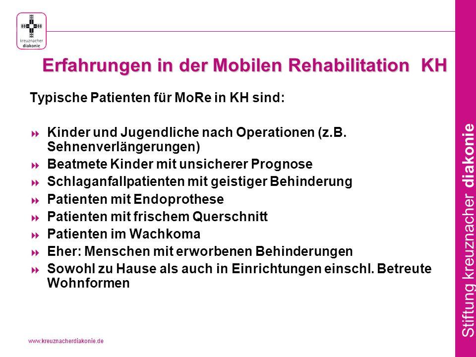 www.kreuznacherdiakonie.de Stiftung kreuznacher diakonie Erfahrungen in der Mobilen Rehabilitation KH Typische Patienten für MoRe in KH sind: Kinder und Jugendliche nach Operationen (z.B.