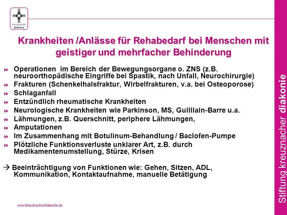 www.kreuznacherdiakonie.de Stiftung kreuznacher diakonie Praxis der Rehabilitation bei Menschen mit geistiger und mehrfacher Behinderung Menschen mit geistiger und mehrfacher Behinderung erhalten nur selten eine Maßnahme medizinischer Rehabilitation, insbesondere bei schwerer Mehrfachbehinderung.