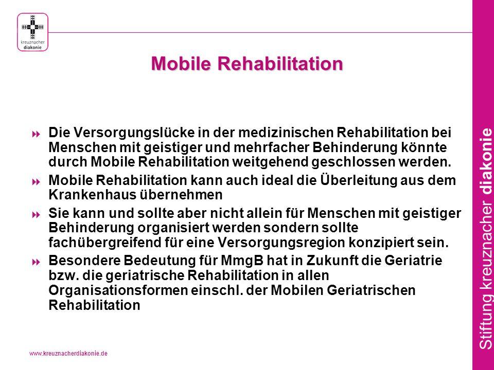 www.kreuznacherdiakonie.de Stiftung kreuznacher diakonie Mobile Rehabilitation Modellprojekte an verschiedenen Standorten zwischen 1991 und 2005 Karlsruhe, Woltersdorf,Bad Kreuznach, Marburg, Bochum, Bremen, Magdeburg, St.