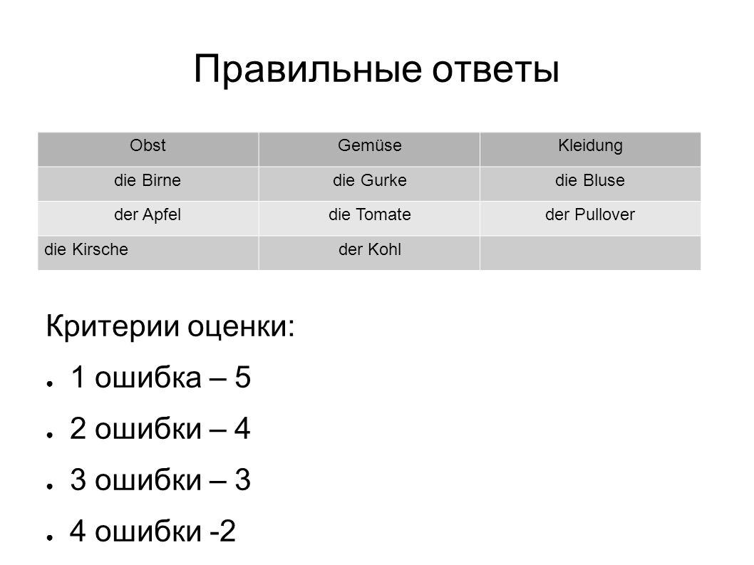 Правильный ответ - rot - gelb - blau - weiβ - grün Критерии оценки: 1 ошибка - 5 2 ошибка - 4 3 ошибки - 3 4 ошибки - 2