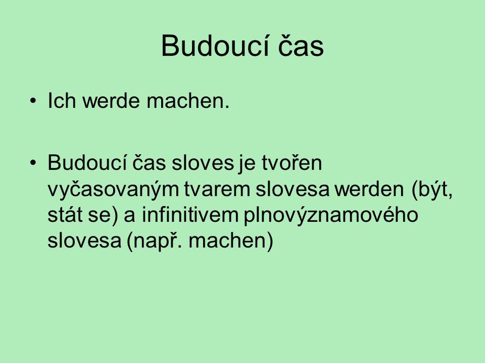 Budoucí čas - sloveso werden – být, stát se ich werde du wirst er, sie, es wird wir werden ihr werdet sie, Sie werden