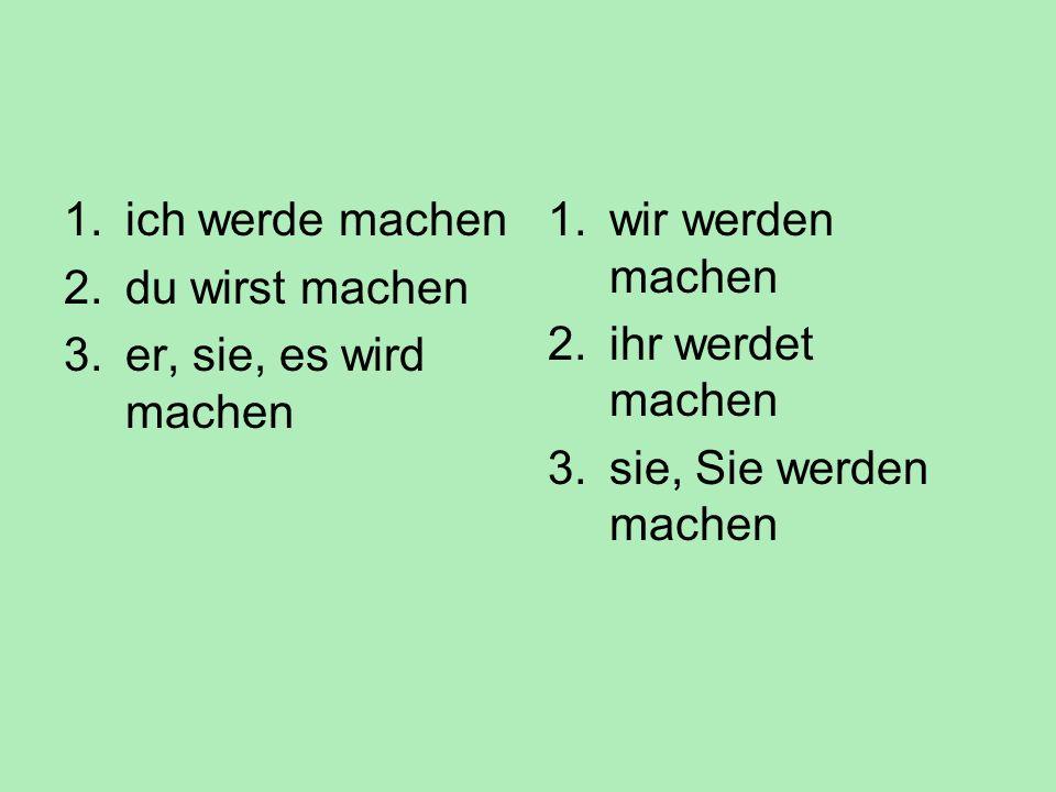 Budoucí čas Ich werde machen. Budoucí čas sloves je tvořen vyčasovaným tvarem slovesa werden (být, stát se) a infinitivem plnovýznamového slovesa (nap