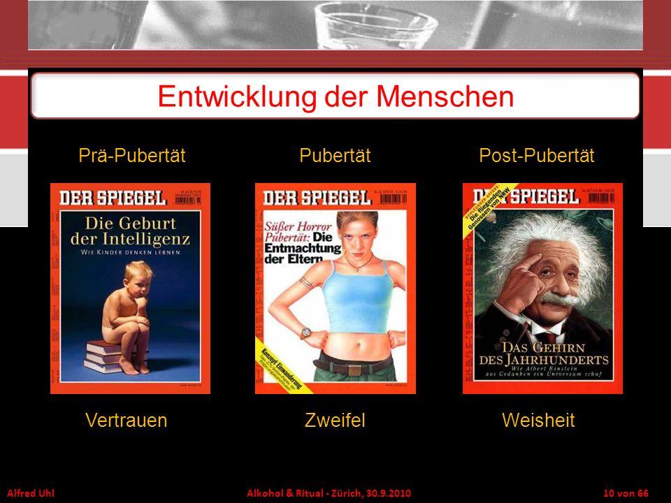 Alfred Uhl Alkohol & Ritual - Zürich, 30.9.2010 10 von 66 Entwicklung der Menschen VertrauenZweifelWeisheit Prä-PubertätPubertätPost-Pubertät