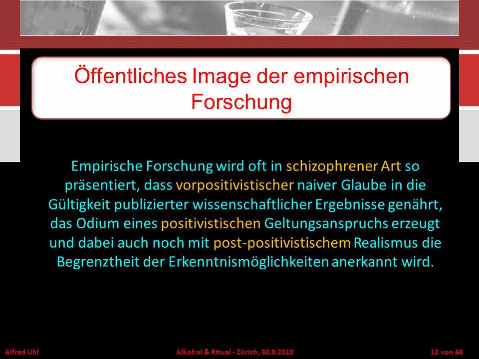 Alfred Uhl Alkohol & Ritual - Zürich, 30.9.2010 12 von 66 Öffentliches Image der empirischen Forschung Empirische Forschung wird oft in schizophrener