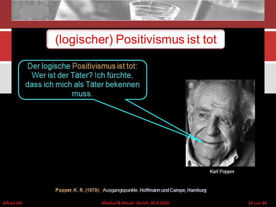 Alfred Uhl Alkohol & Ritual - Zürich, 30.9.2010 13 von 66 (logischer) Positivismus ist tot Karl Popper Der logische Positivismus ist tot: Wer ist der