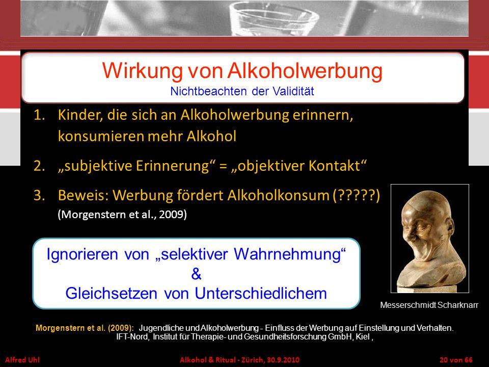 Alfred Uhl Alkohol & Ritual - Zürich, 30.9.2010 20 von 66 Wirkung von Alkoholwerbung Nichtbeachten der Validität Messerschmidt Scharknarr 1.Kinder, di