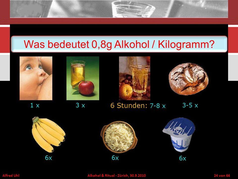 Alfred Uhl Alkohol & Ritual - Zürich, 30.9.2010 24 von 66 Was bedeutet 0,8g Alkohol / Kilogramm? 1 x3 x 6 Stunden: 7-8 x 3-5 x 6x