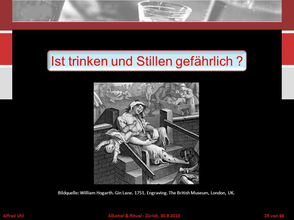 Alfred Uhl Alkohol & Ritual - Zürich, 30.9.2010 25 von 66 Ist trinken und Stillen gefährlich ? Bildquelle: William Hogarth. Gin Lane. 1751. Engraving.