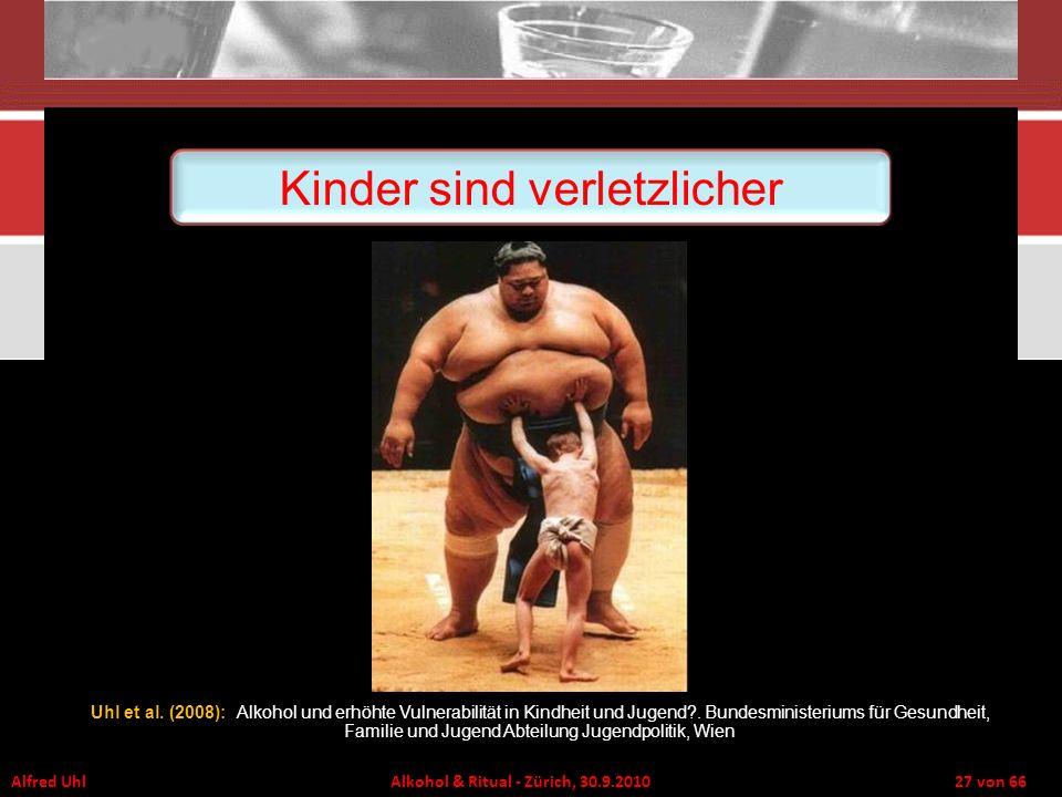 Alfred Uhl Alkohol & Ritual - Zürich, 30.9.2010 27 von 66 Uhl et al. (2008): Alkohol und erhöhte Vulnerabilität in Kindheit und Jugend?. Bundesministe
