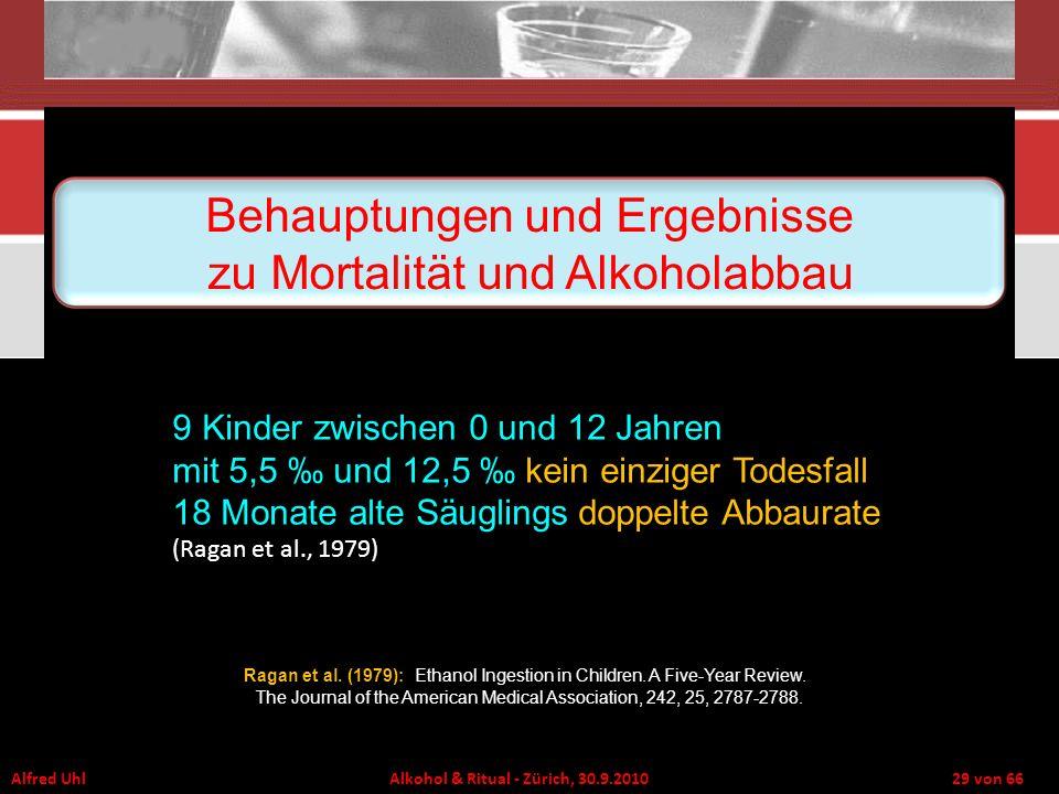 Alfred Uhl Alkohol & Ritual - Zürich, 30.9.2010 29 von 66 9 Kinder zwischen 0 und 12 Jahren mit 5,5 und 12,5 kein einziger Todesfall 18 Monate alte Sä