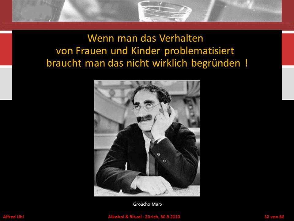 Alfred Uhl Alkohol & Ritual - Zürich, 30.9.2010 32 von 66 Wenn man das Verhalten von Frauen und Kinder problematisiert braucht man das nicht wirklich