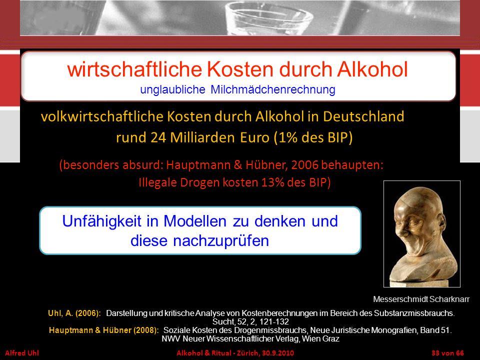 Alfred Uhl Alkohol & Ritual - Zürich, 30.9.2010 33 von 66 wirtschaftliche Kosten durch Alkohol unglaubliche Milchmädchenrechnung Messerschmidt Scharkn