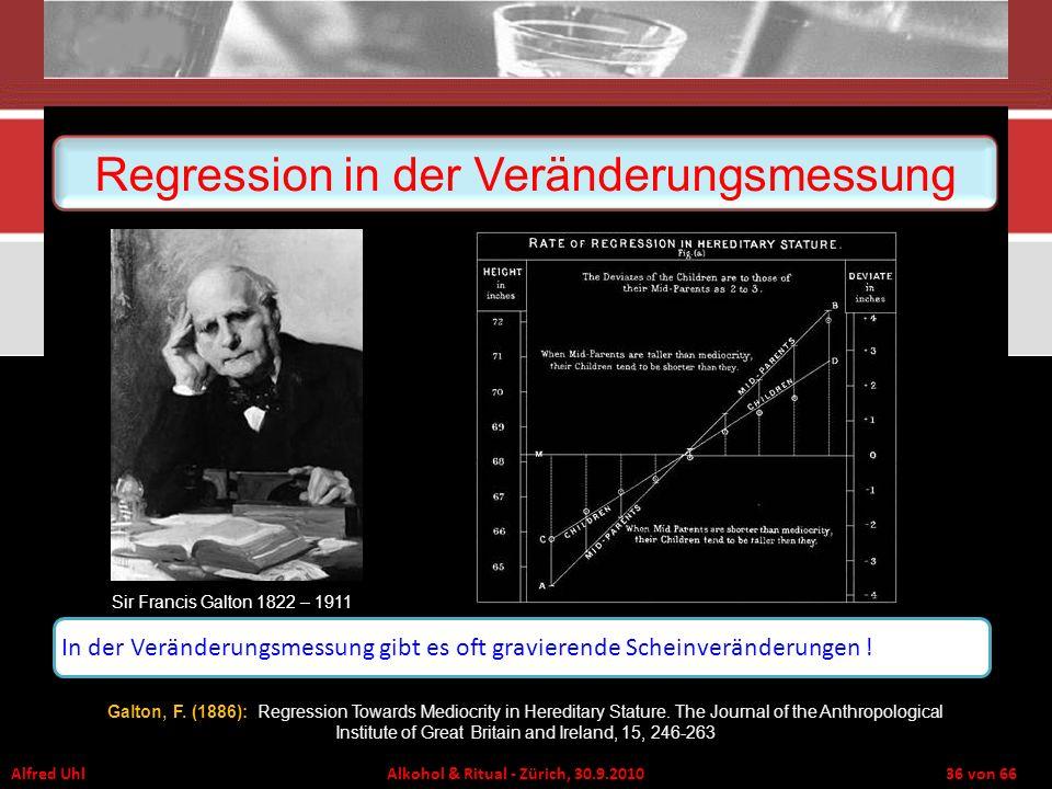 Alfred Uhl Alkohol & Ritual - Zürich, 30.9.2010 36 von 66 Regression in der Veränderungsmessung Sir Francis Galton 1822 – 1911 In der Veränderungsmess