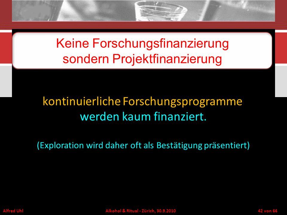 Alfred Uhl Alkohol & Ritual - Zürich, 30.9.2010 42 von 66 Keine Forschungsfinanzierung sondern Projektfinanzierung kontinuierliche Forschungsprogramme