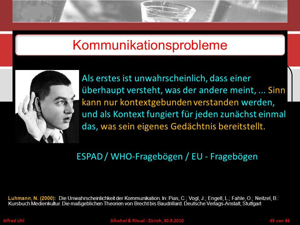Alfred Uhl Alkohol & Ritual - Zürich, 30.9.2010 45 von 66 Kommunikationsprobleme Als erstes ist unwahrscheinlich, dass einer überhaupt versteht, was d