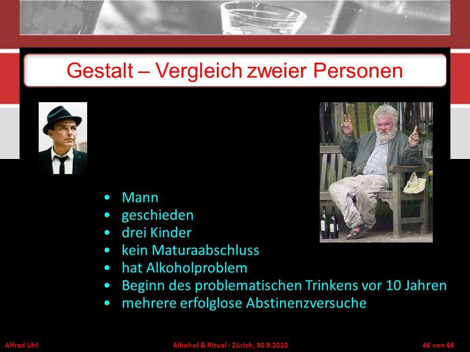 Alfred Uhl Alkohol & Ritual - Zürich, 30.9.2010 46 von 66 Gestalt – Vergleich zweier Personen Mann geschieden drei Kinder kein Maturaabschluss hat Alk