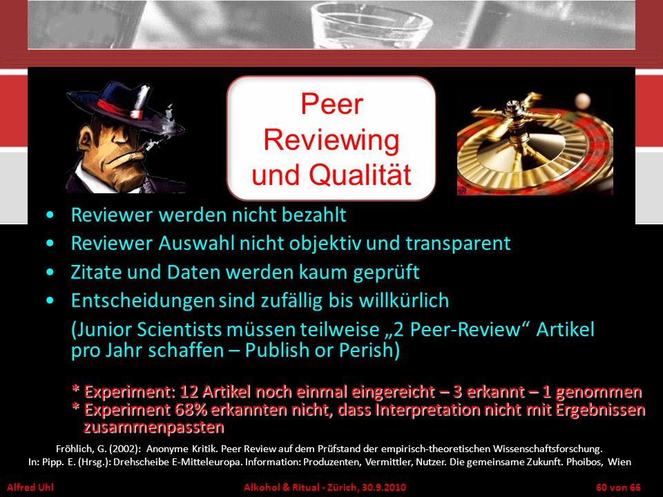 Alfred Uhl Alkohol & Ritual - Zürich, 30.9.2010 60 von 66 Reviewer werden nicht bezahlt Reviewer Auswahl nicht objektiv und transparent Zitate und Dat