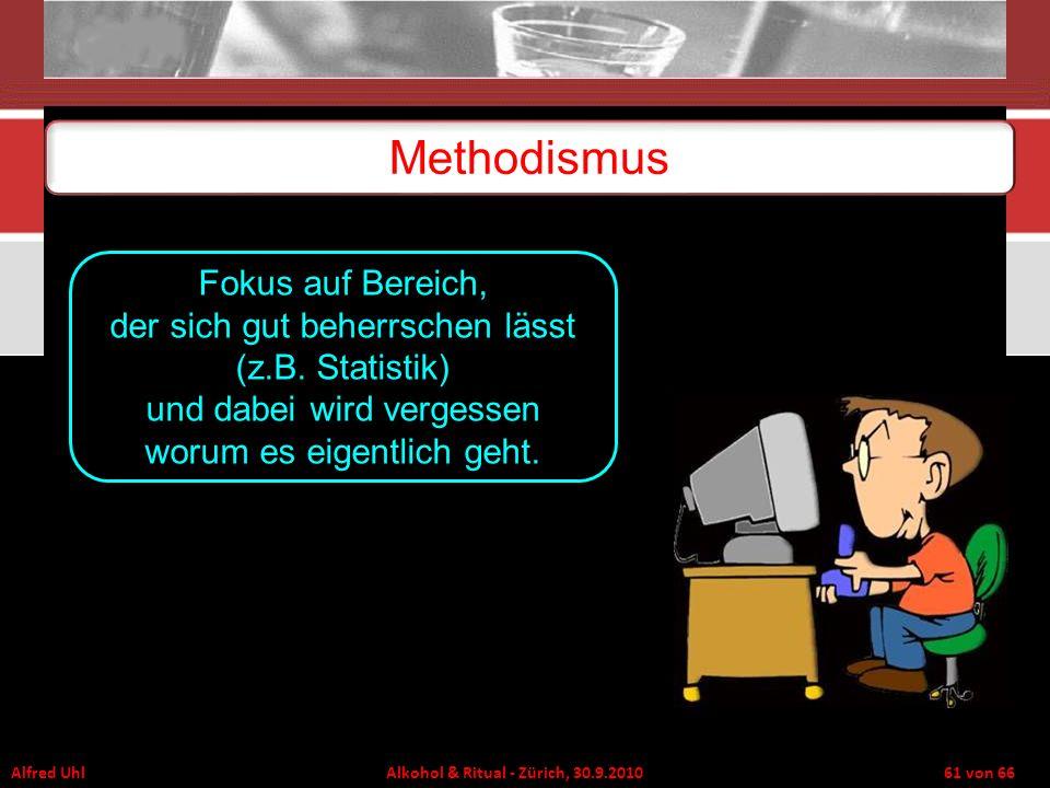 Alfred Uhl Alkohol & Ritual - Zürich, 30.9.2010 61 von 66 Methodismus Fokus auf Bereich, der sich gut beherrschen lässt (z.B. Statistik) und dabei wir