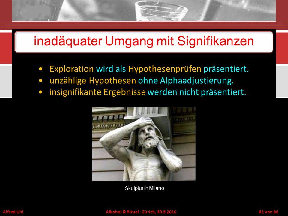 Alfred Uhl Alkohol & Ritual - Zürich, 30.9.2010 62 von 66 inadäquater Umgang mit Signifikanzen Exploration wird als Hypothesenprüfen präsentiert. unzä